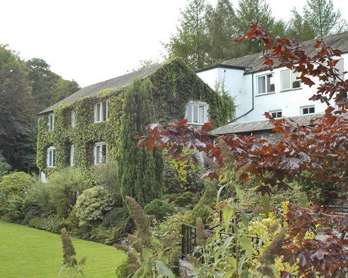 Scenic exterior view of Elterwater Hall at Langdale.