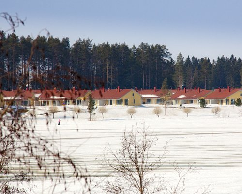 An exterior view of the Holiday Club Katinkulta resort alongside pine trees covered in snow.