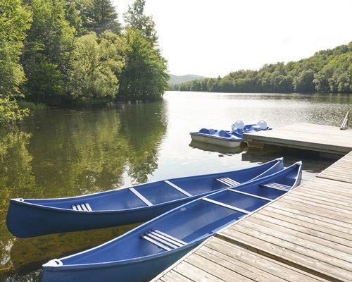 View of canoes in a lake surrounded by wooded area.