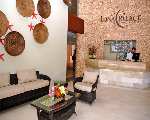 A well furnished reception area of the Luna Palace resort.