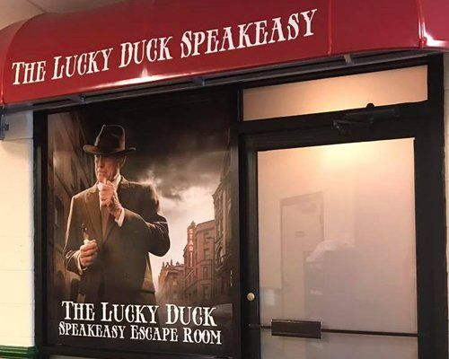 The entrance to the Lucky Duck Speakeasy 1920's themed escape room.