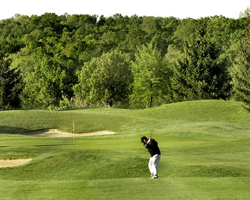 Golf course surrounded by wooded area.