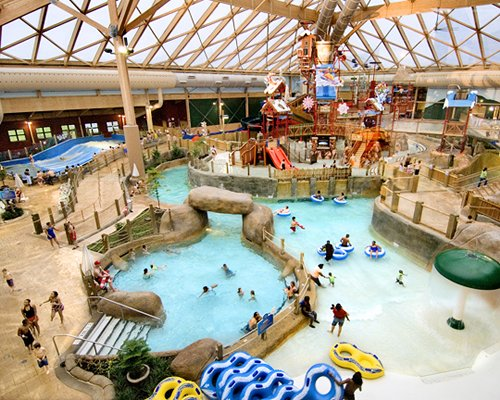 A large indoor water park.