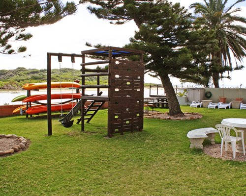 An outdoor playscape for kids.