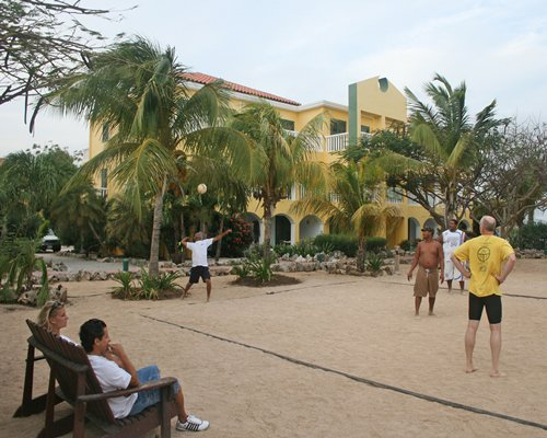 Group of people playing volley ball.