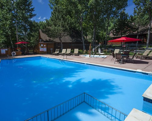 Outdoor swimming pool with chaise lounge chairs patio furniture and sunshades surrounded by wooded area.
