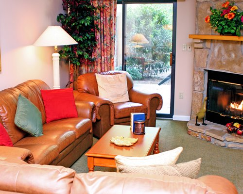 A well furnished living room with the fire in the fireplace and an outside view.