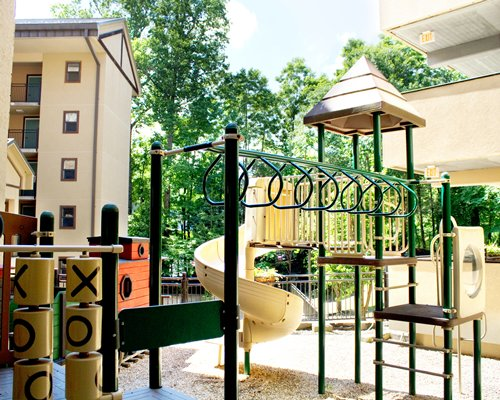 Outdoor kids playscape at Gatlinburg Town Square By Exploria Resorts.