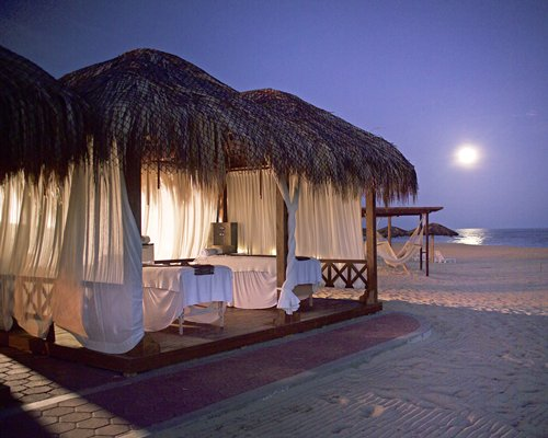 Beach cabana with hammock alongside the ocean.