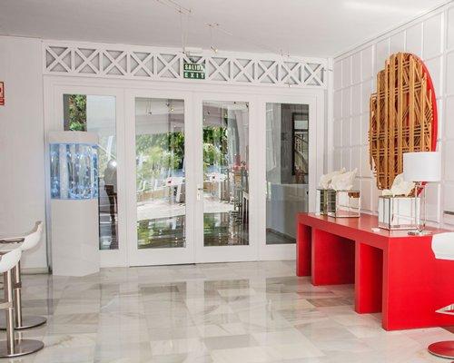 An indoor restaurant at Parque del Sol Beach Club.