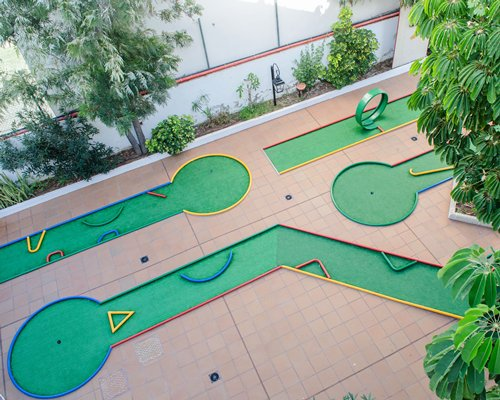 An aerial view of a mini golf course.