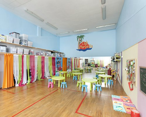 A well furnished indoor kid's learning and play area.