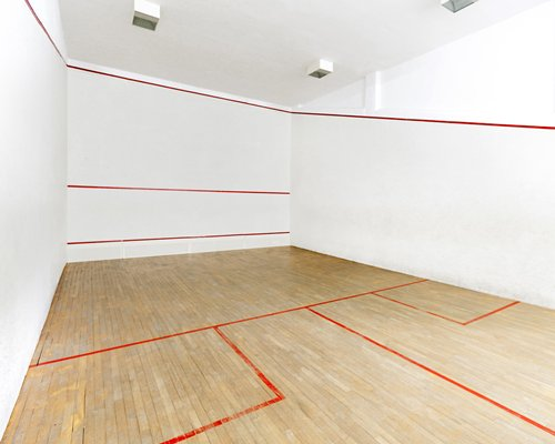 A well furnished indoor squash court.