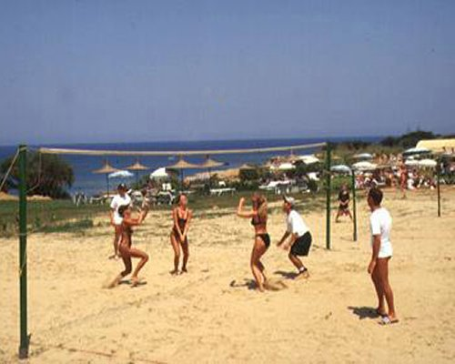Group of people playing beach volleyball.
