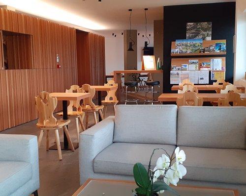 The reception area of Residence Sassolungo resort.