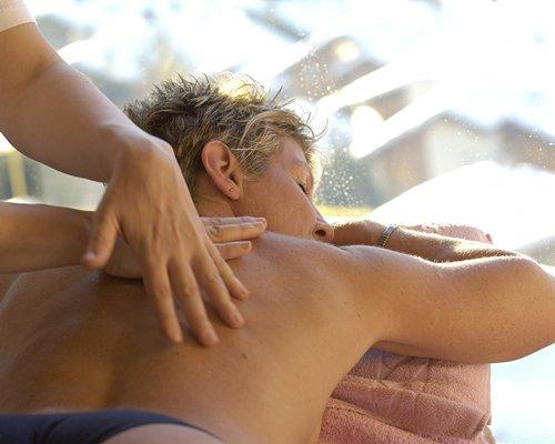 Man having massage at the spa.