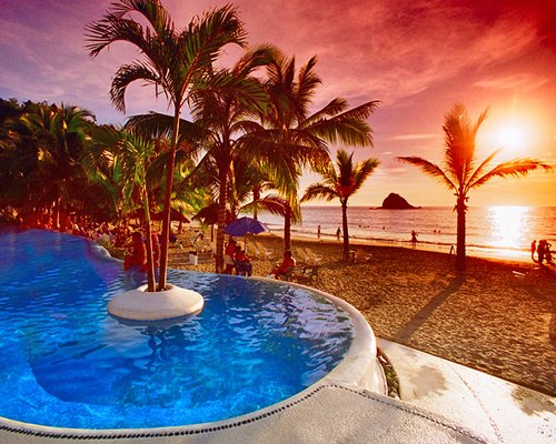 Outdoor swimming pool alongside the beach with palm trees at dawn.