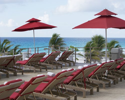 View of beach and ocean alongside chaise lounge chairs sunshades and palm trees.