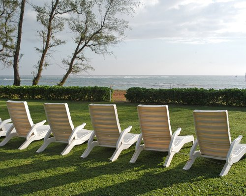 Scenic view of chaise lounge chairs alongside the ocean.