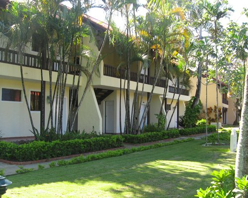 An exterior view of multiple resort units.