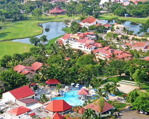 An aerial view of units at Tropicana Caribe with outdoor swimming pool.