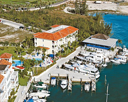 An aerial view of the Paradise Harbour Club & Marina resort properties.