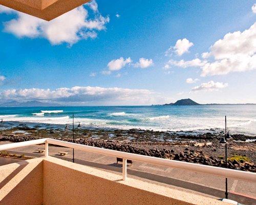 Balcony view of the beach.