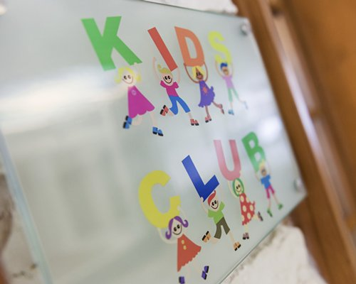 A signboard of the kids club at the Ferienclub Grundlsee  Mondi resort.