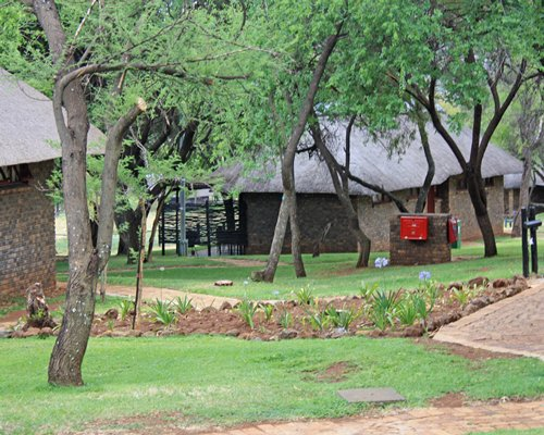 View of Bakubung Lodge covered by trees.