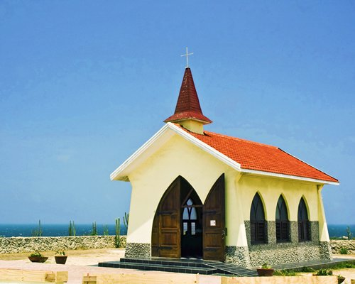 A view of the church alongside the ocean.