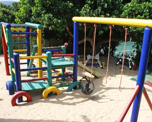 An outdoor children's playscape area.