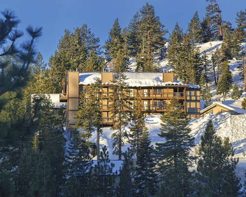 Exterior view of a unit at WorldMark Tahoe surrounded by wooded area during winter.
