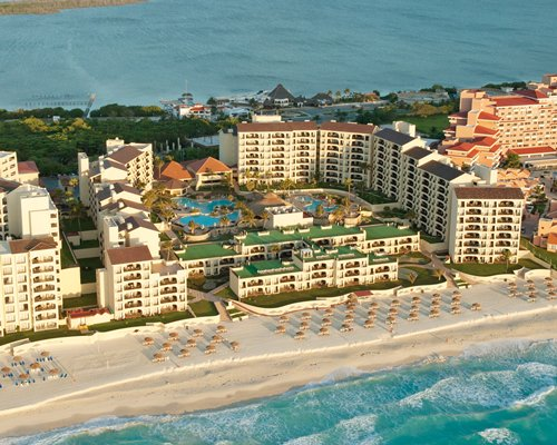 An aerial view of Royal Mayan resort property facing the ocean.