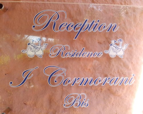 Signboard of reception Residence J Cormorani Bis.
