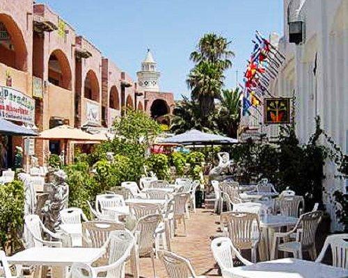 An outdoor restaurant of the Medina del Zoco resort.