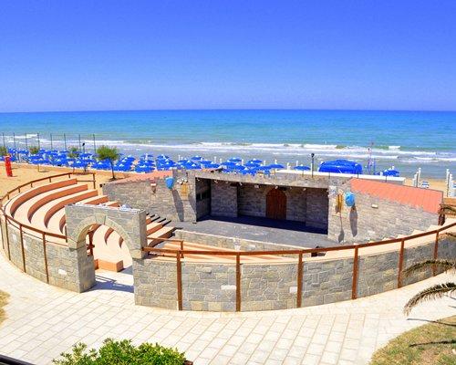 A mini arena alongside the sea.
