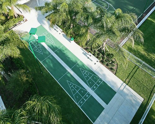 An aerial view of the outdoor shuffleboard court.