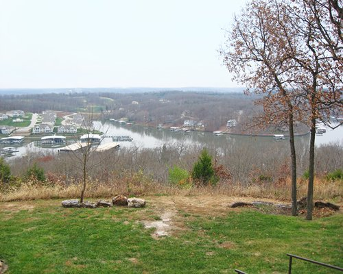 Distant view of the Osage Vistas resort alongside the lake.