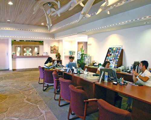 The reception area of Kahana Falls resort.