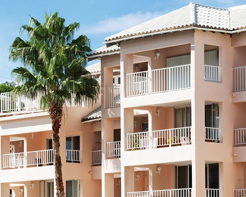 Exterior view of multiple unit balconies at Elysian Beach Resort with a palm tree.