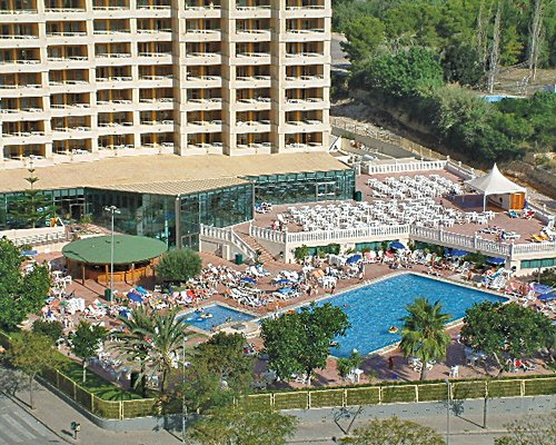 An aerial view of Sandos Benidorm Suites with an outdoor swimming pool.
