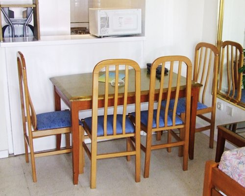 A well furnished dining table.