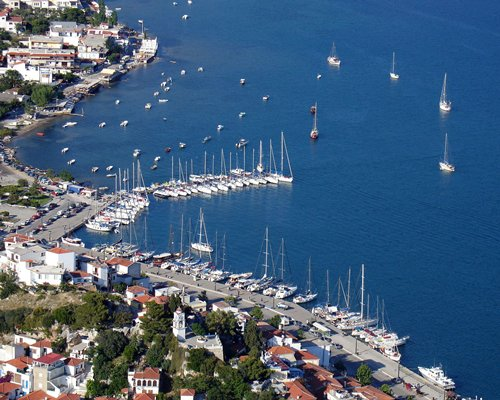 An aerial view of the Nostos Village resort.