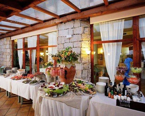 Buffet at an indoor restaurant.