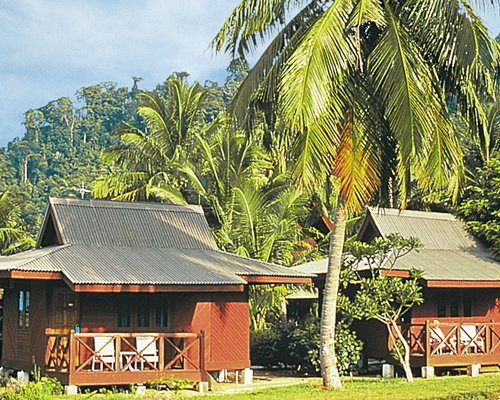 An exterior view of the Berjaya Tioman Resort alongside palm trees.