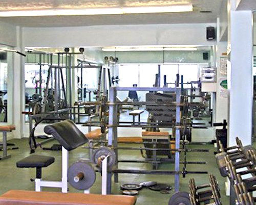 A well equipped fitness center.