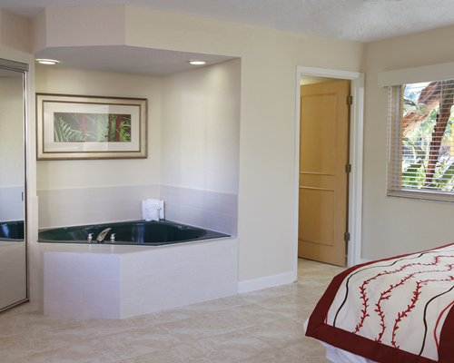 A well furnished bedroom with a bathtub.