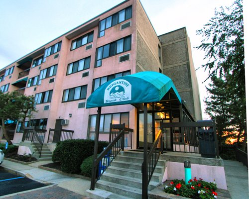 Entrance and view of multiple unit balconies at Rhc/Brigantine Beach Club.