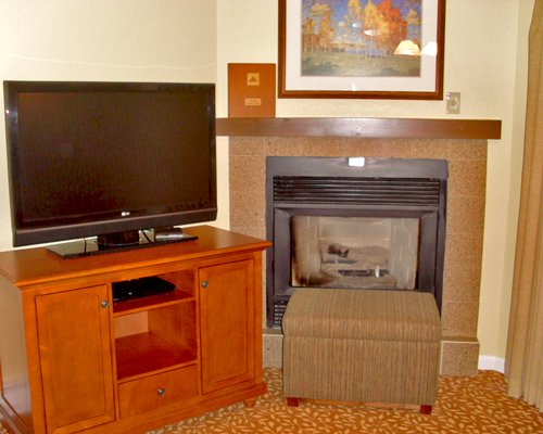 A view of television and fireplace.