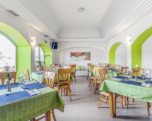 An indoor fine dining area of the Garden Lago resort.